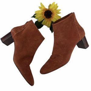Zara Woman Leather Suede Boots Booties Rust Orange Zip Back Size 40 9